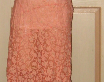 Just Fabulous 1920s 1930s Summer Peach Lily Floral Print Dress Semi Sheer N Sexy Stunning. WOW