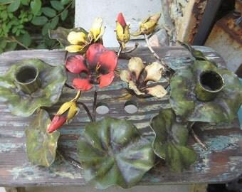 HTF Italian Tole Nastaran Flower Candlelabra candle Holder Center Piece Sweet N Chic
