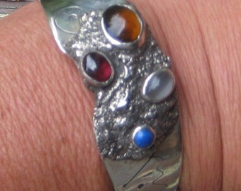 Great Retro Modern  Abstract Sterling Semi Presious Stones Cuff Bracelet 1 Of a Kind