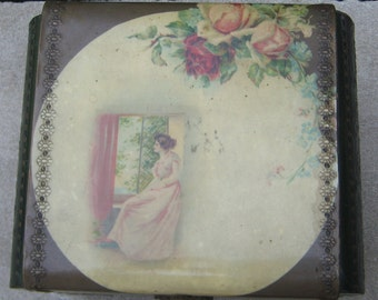 Antique Victorian Celluloid Collar Dresser Box Roses Lady  Mirror.