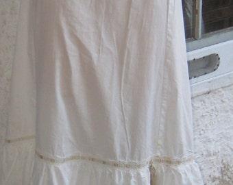 Romantic Full Cotton Petticoat Victorian Half Slip Size Small