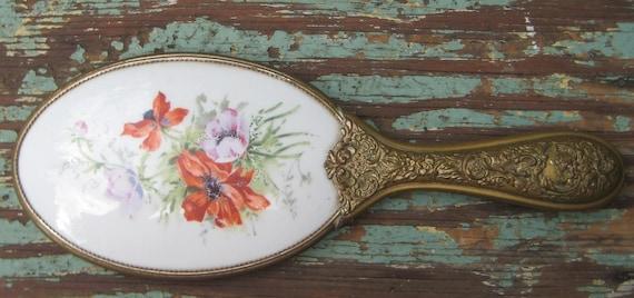 sale sale Wonderful Antique Victorian Porcelain Poppy Flower Fancy Brass handle Hand Mirror