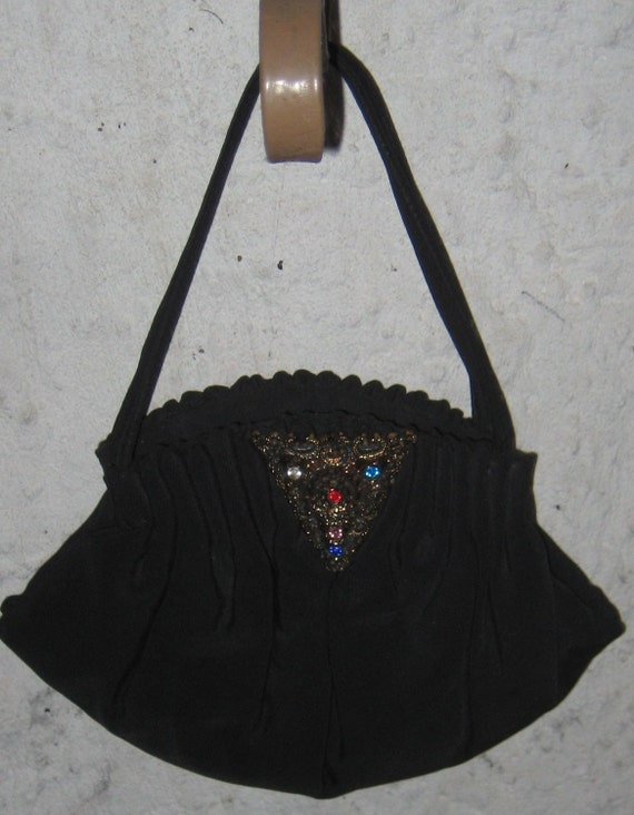 SALE SALE Fab 1940s 1950s Evening Black  Hand Bag Purse With Rhinestone Accent Classy