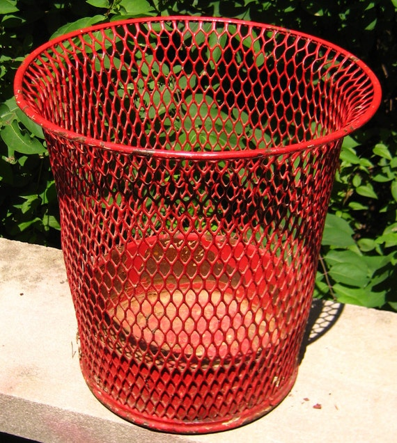 Urban Industrial Chic Red Wire Waste Can