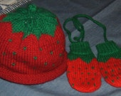 Strawberry Mittens and Hat Set