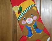 Teddy Bear Christmas Stocking 1 of set of 3 left