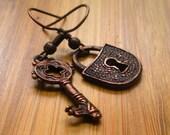 Copper Tone Lock and Key Dangle Earrings