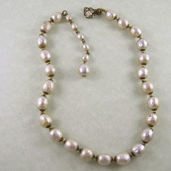 Single Strand Pearl Necklace: Miriam Haskell Baroque Pearl Single Strand Necklace By