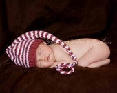 Knit Baby Hat, Handmade Photo Shoot Prop, Striped Stocking Cap, Choose your colors, Newborn photo shoot prop by Cream of the Prop