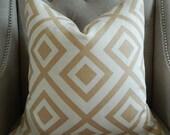 Decorative Designer Pillow Cover - 18X18 - David Hicks for Lee Jofa - Groundworks - La Fiorentina - Geometric Print in Beige and Ivory