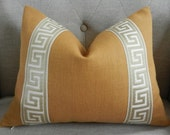 Decorative Designer Lumbar pillow cover - 12X16 - Solid Heavy Belgian linen fabric in a camel color with attached greek key trim