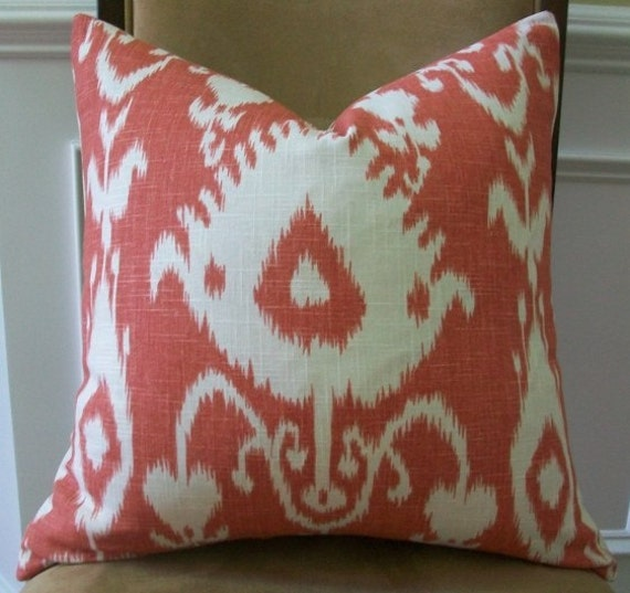 Decorative Designer Pillow Cover 20X20 - IKAT Print in Ivory  on a Coral background