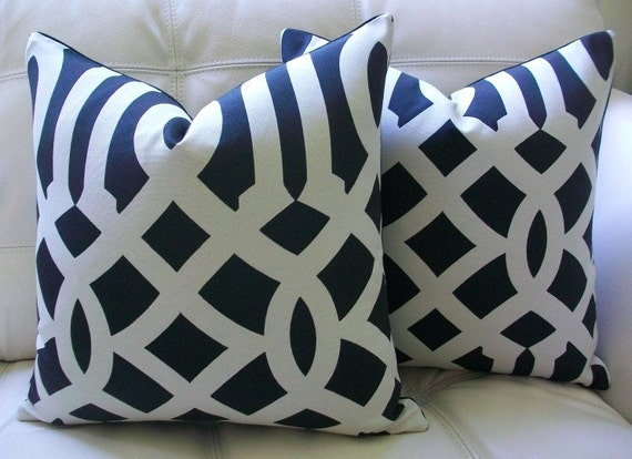 PAIR OF DECORATIVE DESIGNER 16X16 Pillow Covers - Imperial Trellis Pattern- Black and Off White