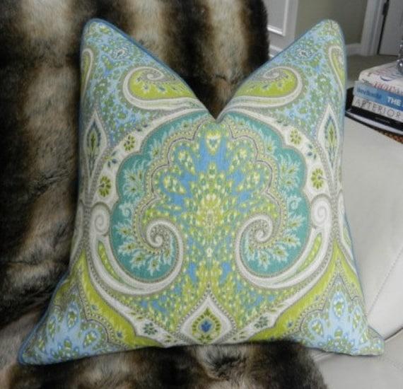 SALE - Decorative Designer Lumbar Pillow Cover - 20X20 - Thom Filicia Latika print in pool