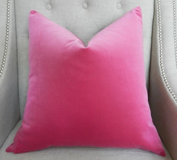 "Decorative Designer Pillow Cover - 18""X18"" - Schumacher Gainsborough Velvet in fuschia"