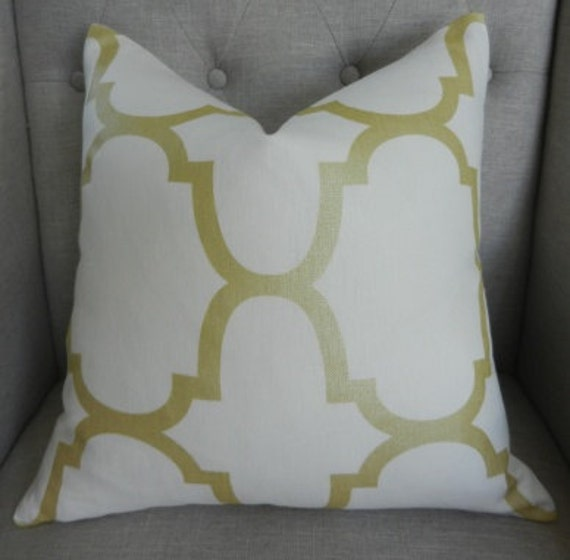 SALE - Decorative Designer Pillow Cover - 18X18 - Windsor Smith for Kravet  - Riad Pearl print  in Gold - Pattern on the front