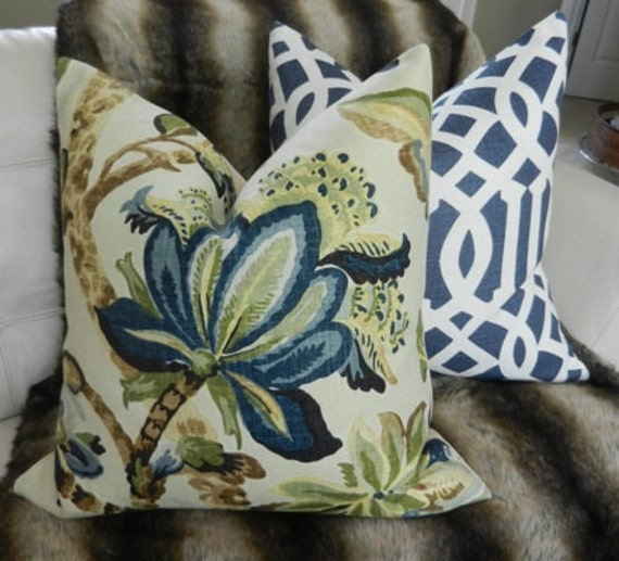 "Decorative Designer Pillow Cover - 20""X20"" - Kelmscott Maner Print in indigo - Pattern on the front"