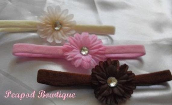 Crystal Daisy Flower Headbands--Gift Pack of 3