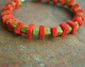 Orange\/green felt bracelet