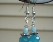 20% OFF spring sale Aqua Blue and Baby Blue Czech Glass earrings