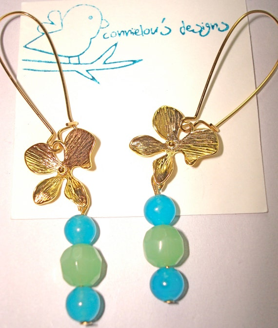Gold Orchid Blossom Flower Spring Summer Earrings with baby blue and green jade beads kidney wire earrings