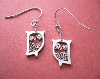 Silver Owl Earrings - Animal Jewelry - handcrafted dangle earring
