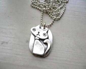 Silver Cat Pendant - .999 Fine Silver