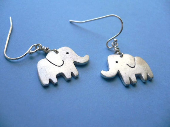 Silver Elephant Earrings - simple artisan jewelry - silver dangle earring