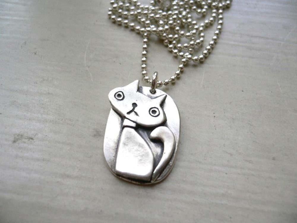 silver cat pendant 999 silver by studiorhino on etsy