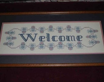 Hand Cross-stitched on linen Pineapple Welcome professionally framed 14 x 30 inches