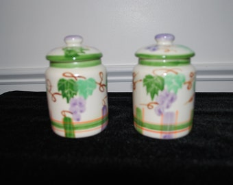 Gorgeous Pair of Ceramic  jars delicately decorated  with leaves and grapes made in China