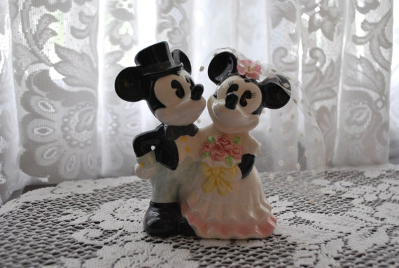 Vintage Bride and Groom Mickey and Minnie Cake Topper