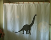 brontosaurus Shower Curtain kids dinosaur reptile giant plant eater fossil extinct bathroom decor kids bath curtains custom size long wide