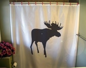 moose shower curtain elk palmate Canada Canadian north Alaska Yukon boreal forest wild nature bathroom bath curtains custom size long wide