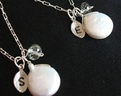 Personalized Bridesmaid gifts 2 Sterling Silver Necklaces with Coin Pearl, Green Amethyst and Custom Initial Leaf