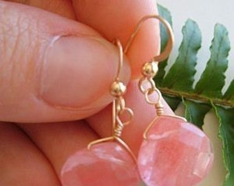 Quartz Earrings Cherry Quartz Briolette 14K gold filled Earrings Drop Earrings, Pink, Cherry Wedding Birthday gift, Anniversary, Bridesmaids
