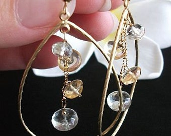 Citrine Earrings, Amethyst Earrings, Hoop Earrings, Natural Amethyst, Natural Citrine 14K Gold filled hoop earrings,Wedding, Anniversary