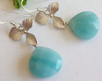 Amazonite Earrings, Mint Earrings, Blue Earrings, Silver, Orchid Earrings, mint jewelry, Mint Wedding, Blue Wedding, Bridesmaids