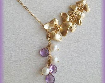 Amethyst necklace, Lavander Necklace, pearl necklace, Lariat, Amethyst, Freshwater Pearl, gift for her, sister, wedding