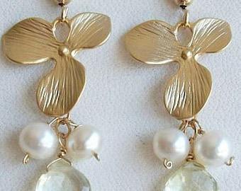 Christmas SALE Pearl earrings, Lemon Quartz Earrings, Quartz Earrings, 14k GF GP Orchid Earrings, for Sister, Wedding, Christmas,