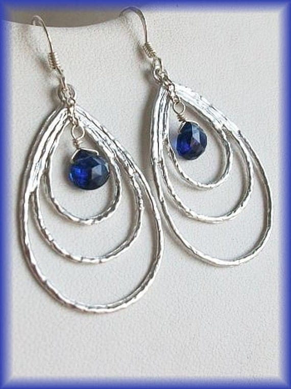 Kyanite earrings, Hoop earrings, Silver, Blue Earrings, Triple teardrop Earrings with Natural Kyanite briolette, Wedding, birthday gift