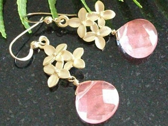14k Gold GF GP Cherry Blossom with Cherry Quartz Earrings - AnnTig, Birthday gift, Christmas gift