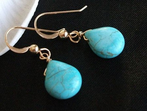 Turquoise Earrings, Turquoise Briolette 14K Gold Fill Earrings, Turquoise Jewelry, Bridesmaids, Christmas, Mothers Day, gift under 20