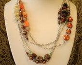 CLEARANCE Eclectic Gemstone Necklace - OOAK Statement Necklace - Layered Lampwork Jewelry  - Orange Green Jewelry on Sale-- Sunrise Seaweed