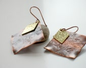 Artisan Statement Earrings- Mixed Metal- Copper and Brass-- PERRI