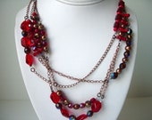 SALE OOAK Eclectic Statement Necklace . Urban Chic Bohemian Beaded Gemstone Jewelry .One of a Kind Layered Necklace Red Sky at Night SEAWEED