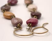 Long Bohemian Earrings- Moukite Gemstone- HAYLEE