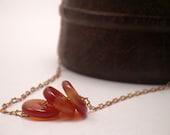 Minimalist Gemstone Necklace - Carnelian and Copper - Orange Beaded Jewelry . Eclectic Urban Chic . Minimal . Simple Under 15 -- BELVA