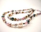 CLEARANCE Swarovski Pearl Necklace - Trendy Spring Jewelry Jewel Tones -  Mod Two Stranded Beaded - Boutique Jewelry Gift Under 25 -- EDLYN