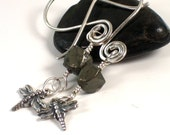 RESERVED Sterling Artisan Earrings . Dragonfly . Pyrite Nugget . Urban Chic Jewelry . Minimalist . DAMARA